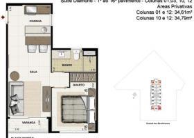 Apartamento à venda com 1 Quarto, Curicica
