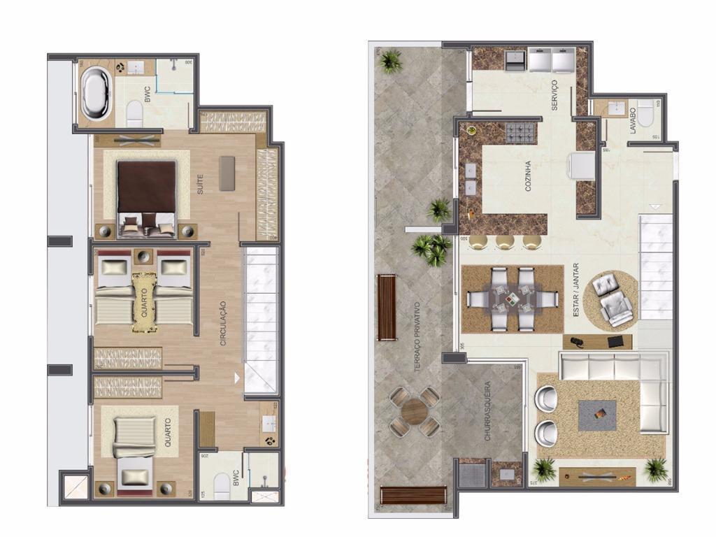 Apartamento à venda com 3 Quartos Bigorrilho Curitiba R$ 837.000  #505A2C 1024x768 Area Banheiro Pne