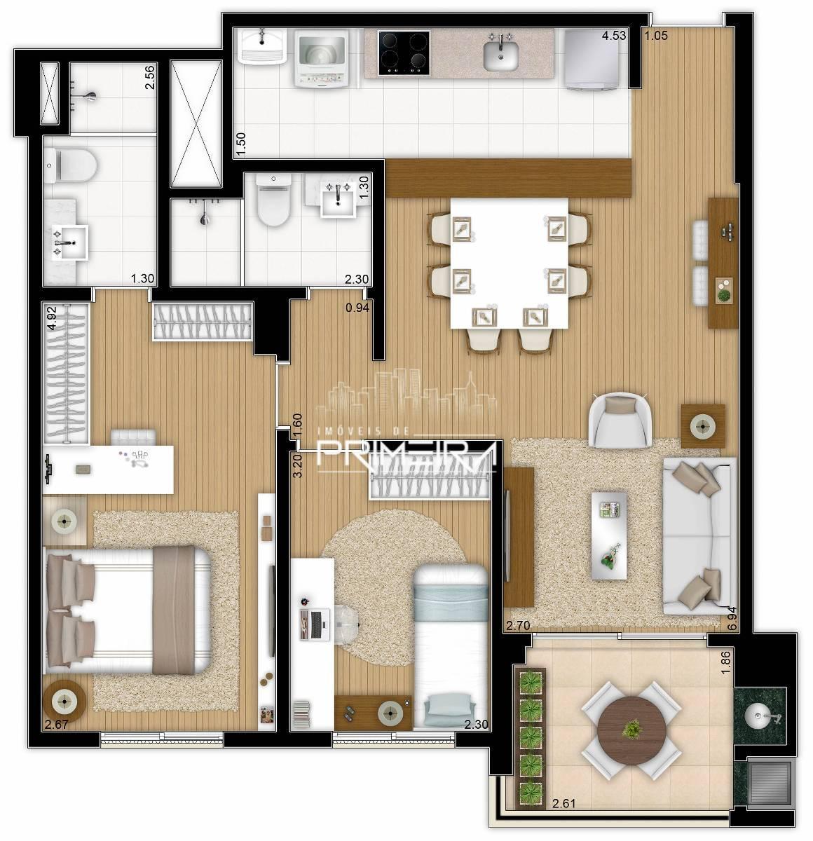 Apartamento à venda com 2 Quartos Centro Curitiba R$ 576.900 103  #6E4F2C 1160 1200