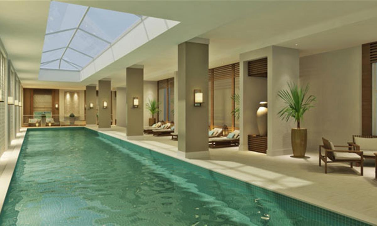 Perspectiva ilustrada piscina coberta