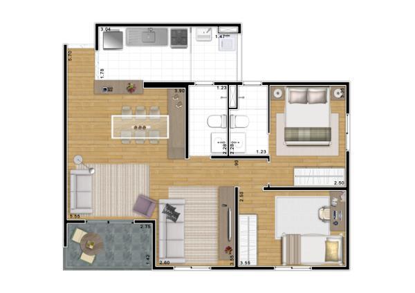 apartamento 3 dormitórios 70 m² cidade universitária zona oeste