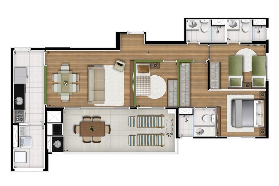 Apartamento 93 metros, 3 dorm, Vila Leopoldina, Zona Oeste