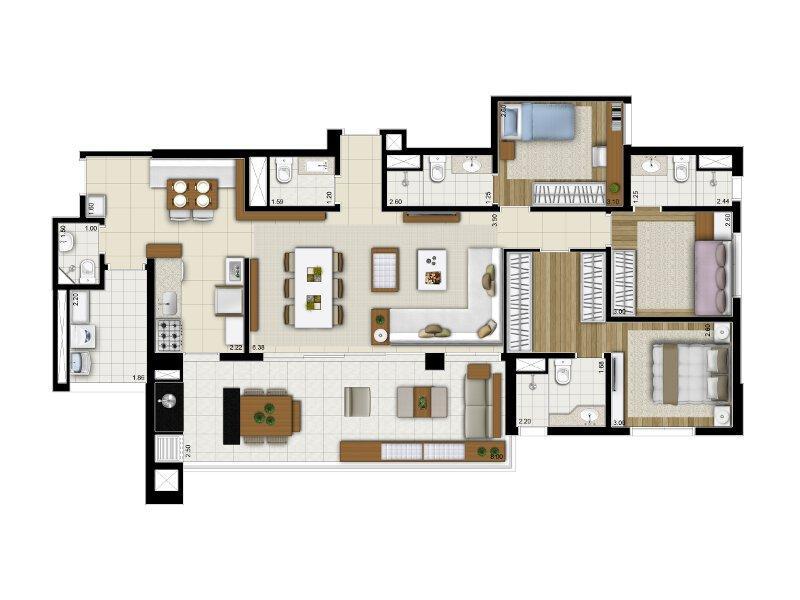 Apartamento pronto - Brooklin, 134m², 2 vagas de garagem