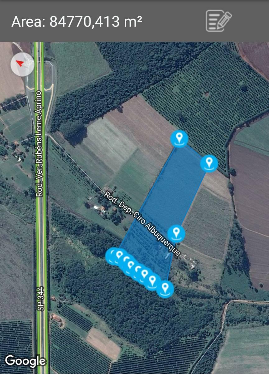 Delimitação da área do Sitio Rancho Alegre