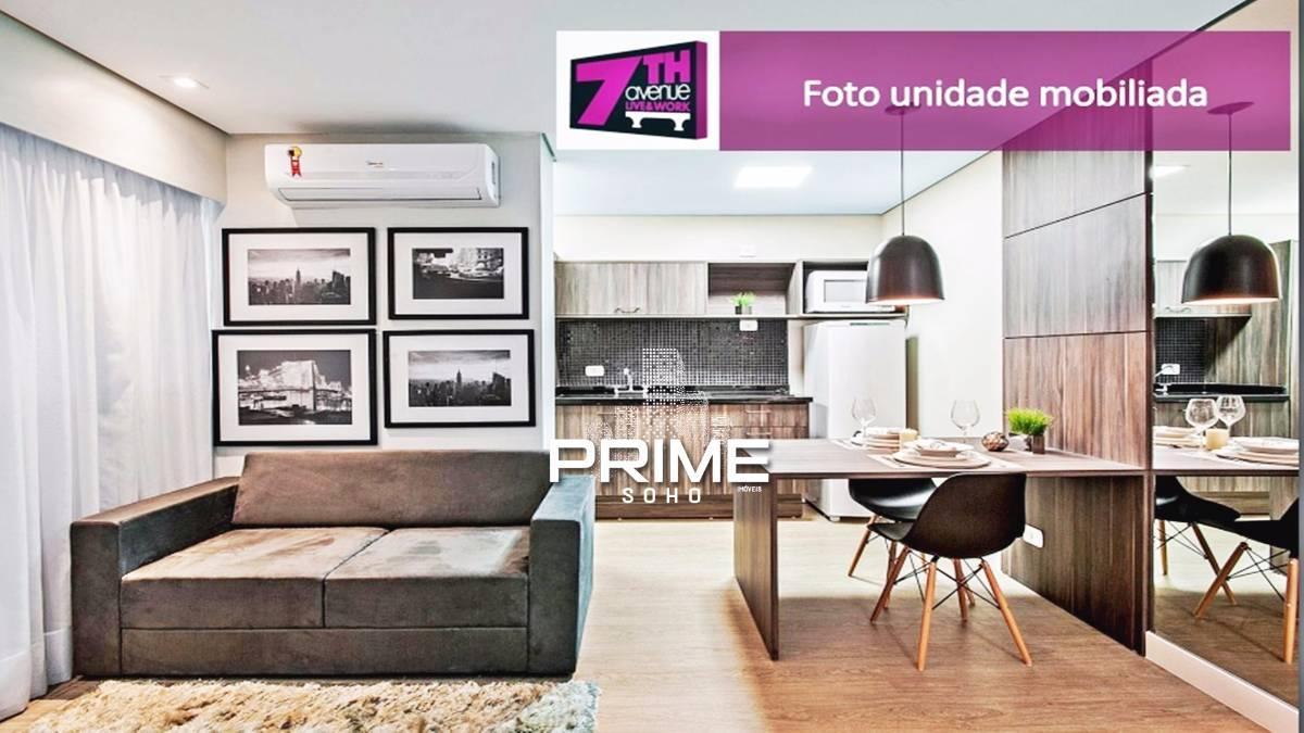 7TH Avenue - Studio MOBILIADO E DECORADO no centro 30 m²