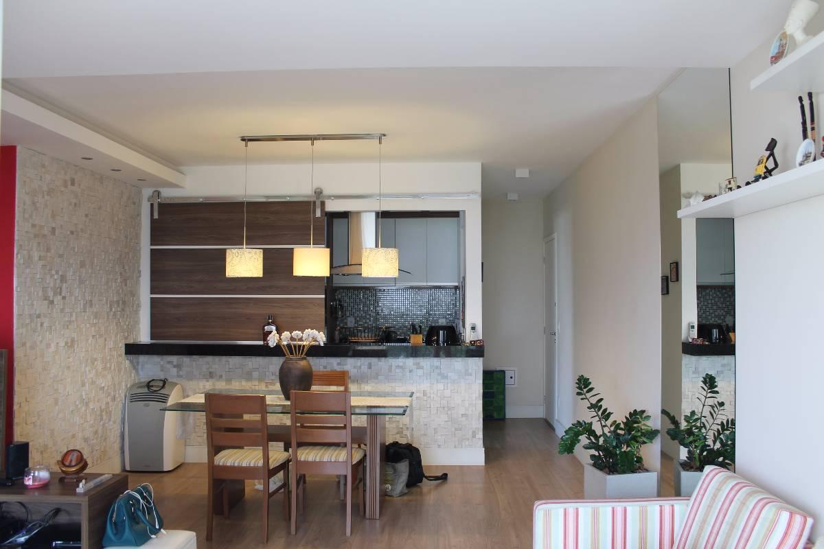 Sala e balcão para cozinha, mo painel móvel em madeira