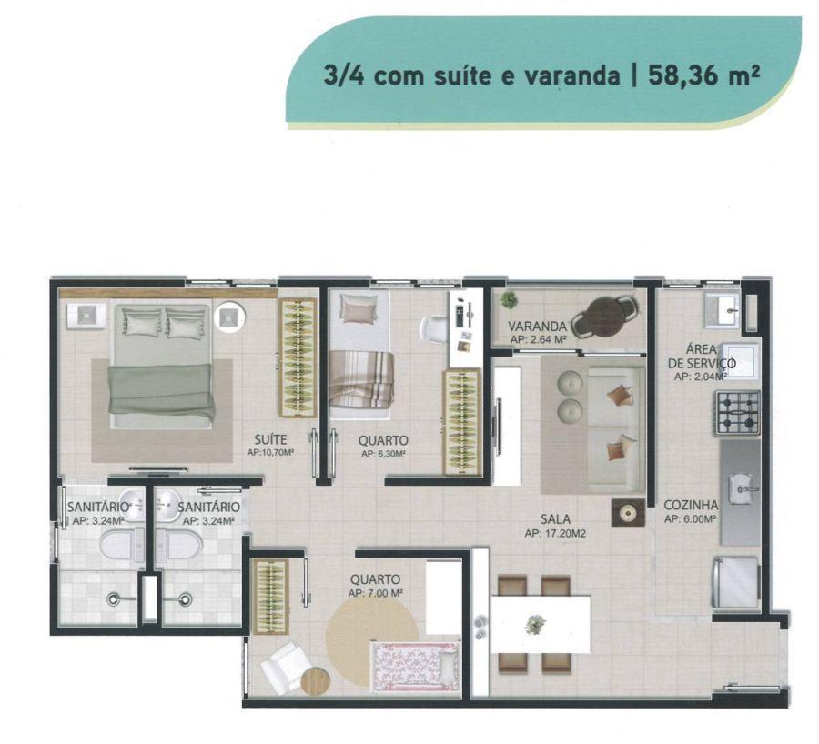 Apartamento 3/4 no São Rafael, NOVO, com suite e varanda,  Horto São Rafael.