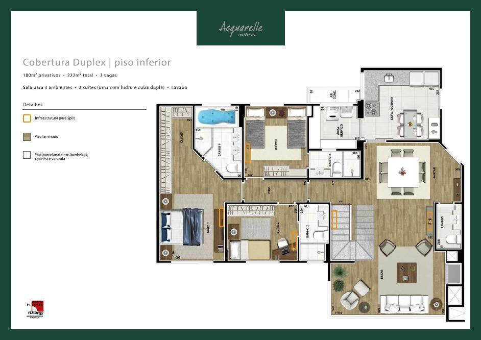 Cobertura Duplex 250m² com amplo terraço - Acquarelle