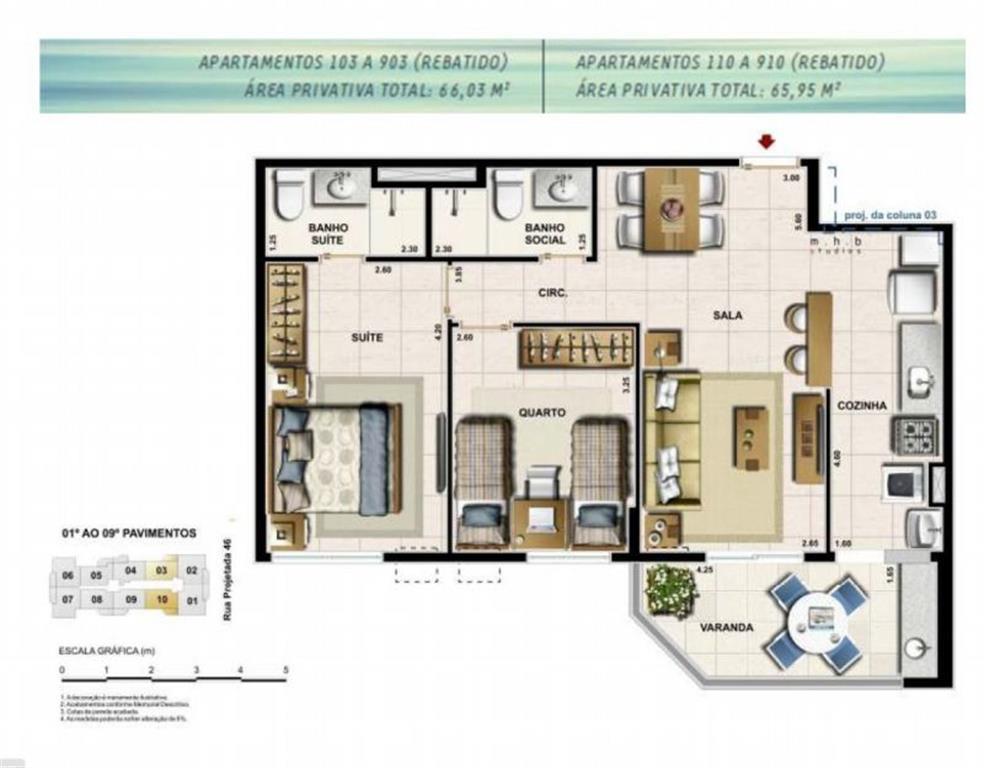 Apartamento de 2 quartos com 68 m² - Recreio dos Bandeirantes