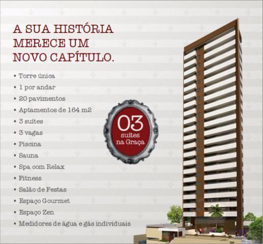 Apartamento na Graça, 3 quartos sendo 3 suítes com 164m², Torre Barbara. 3 vagas