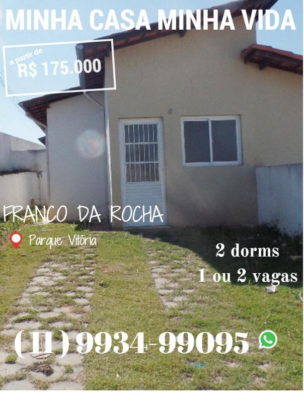 Casa térrea Franco da Rocha Parque Vitória  2 dorms 2 vagas + QUINTAL