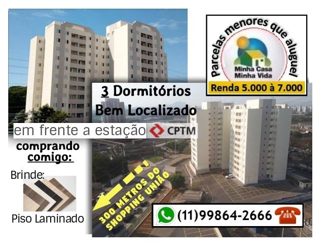3 Dorms c/ varanda Vila Yara/PQ CONTINENTAL - AO LADO DA CPTM E SHOPPING !