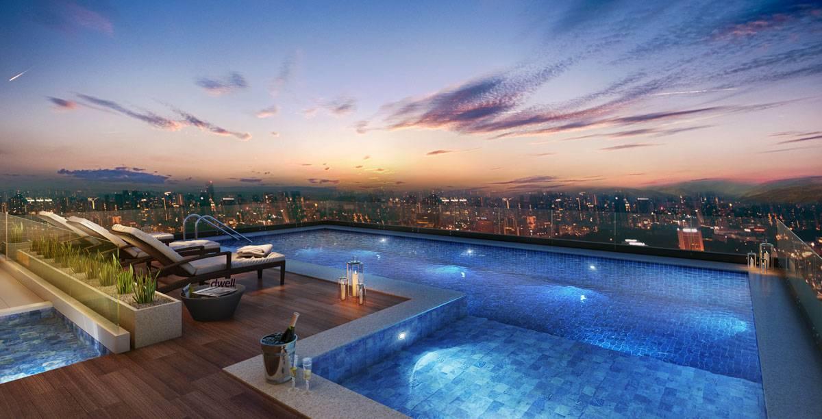 piscina na cobertura foto ilustratiava