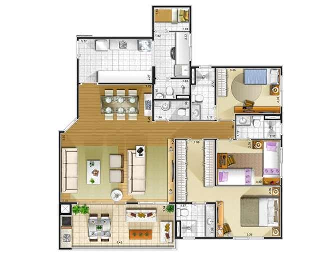 Apartamento 124m2 - 03 Suites - Lazer  -  Mobiliado - T.Gourmet