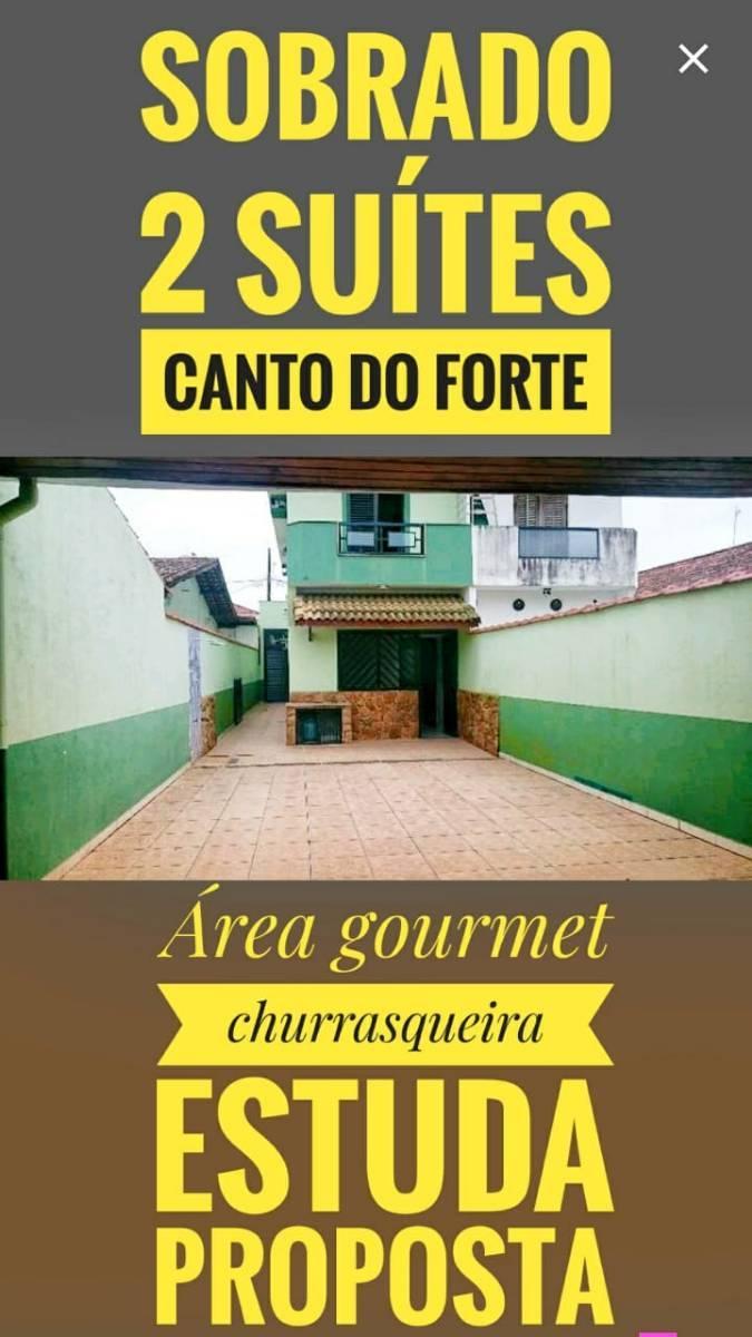 Sobrado Alto Padrão 2 Suítes e Área Gourmet Canto do Forte em Praia Grande SP