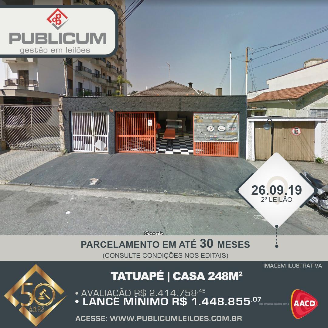 Tatuapé   Casa 248m2 - Leilão 26.09