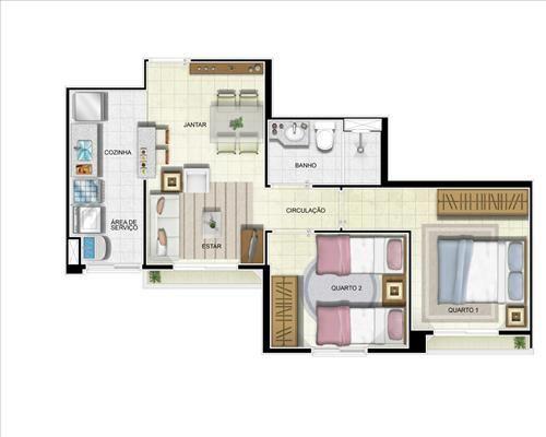 01- planta de 2 quartos sem suíte com 48 m²