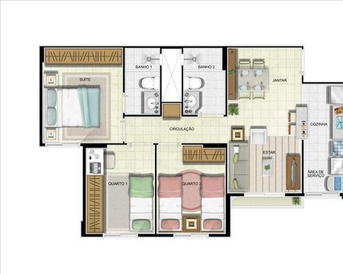 01- planta de 3 quartos com suíte com 62 m²