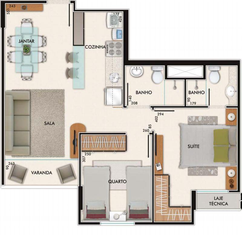 2 quartos com suite e varanda andar alto vista livre p reserva - jmr
