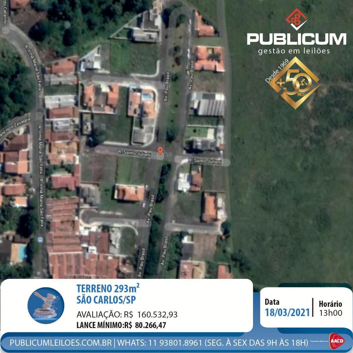 TERRENO 293m² - SÃO CARLOS/SP   Leilão Online 18.03
